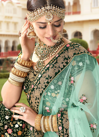 Bottle Green and Gold Embroidered Bridal Lehenga