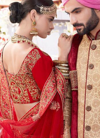 Maroon and Gold Embroidered Bridal Lehenga