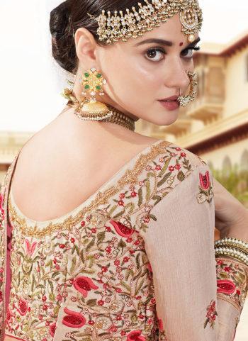 Cream and Gold Embroidered Bridal Lehenga
