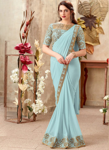 Sky Blue Embroidered Saree
