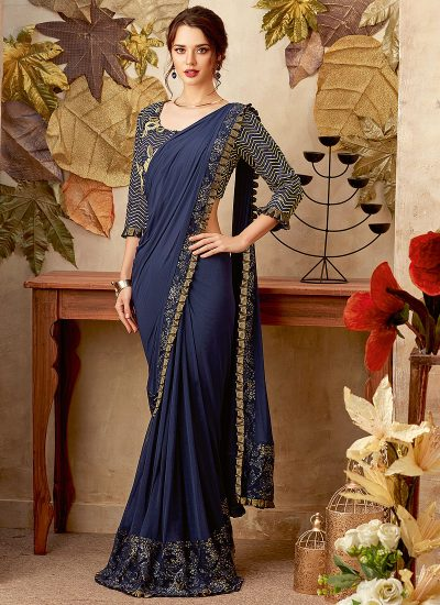 1f4d43a489 Blue and Gold Embroidered Saree