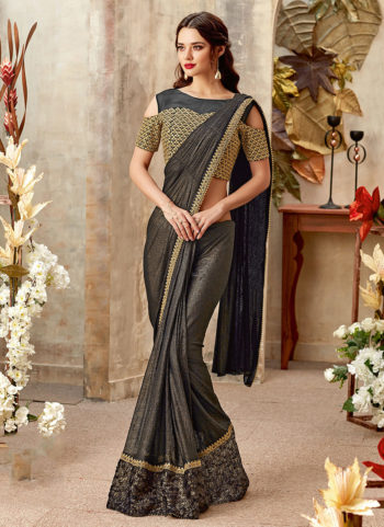 Black and Gold Embroidered Saree