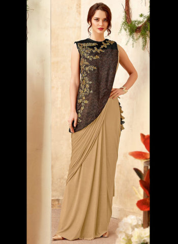 Cream and Grey Embroidered Saree