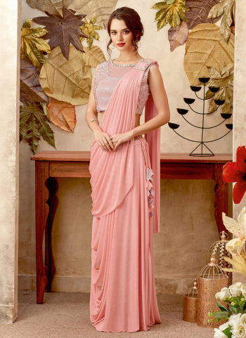Light Pink Embroidered Saree