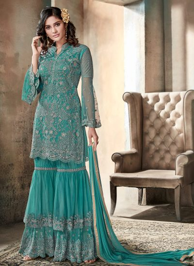 Aqua Heavy Embroidered Gharara Suit