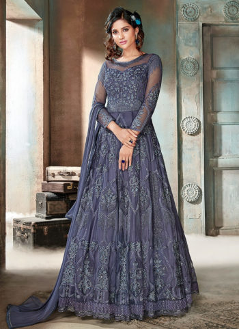 Dark Blue Embroidered Anarkali Gown