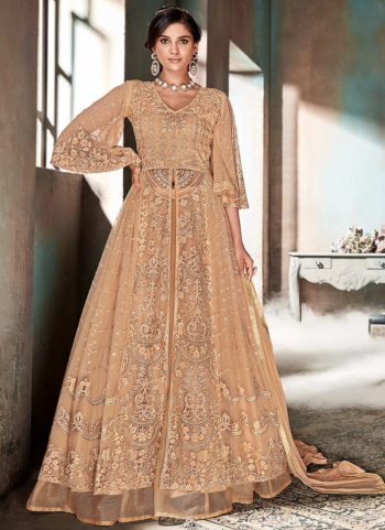 Peach Embroidered Lehenga/Gharara Suit