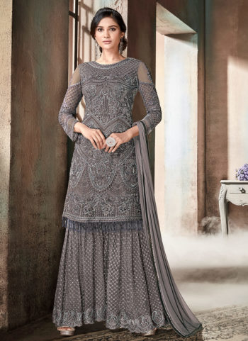 Dark Grey Heavy Embroidered Gharara Suit