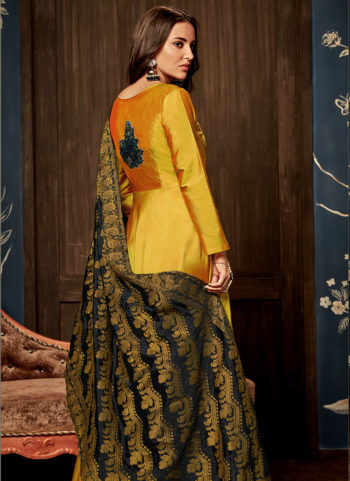 Yellow and Black Silk Gown
