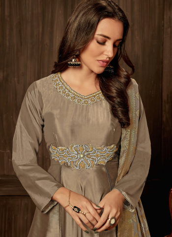 Grey Embroidered Silk Gown
