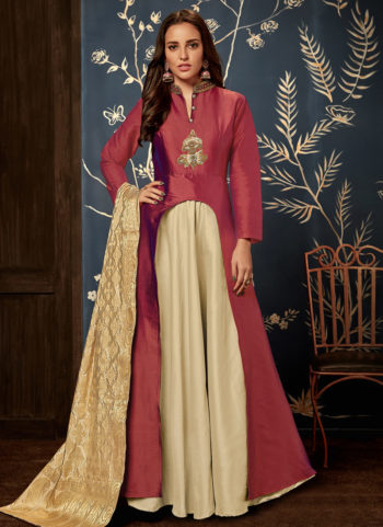 Red and Cream Embroidered Silk Gown