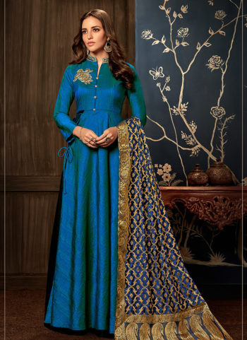 Blue and Gold Embroidered Silk Gown