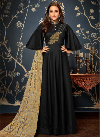 Black and Gold Embroidered Silk Gown