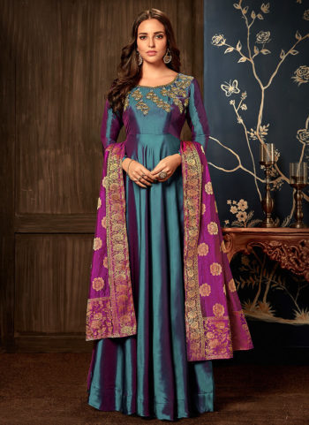Blue and Purple Embroidered Silk Gown