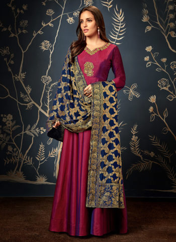 Red and Blue Embroidered Silk Gown