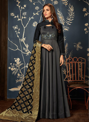 Black Embroidered Silk Gown