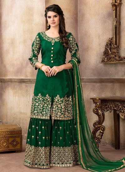 Green and Gold Embroidered Gharara Suit