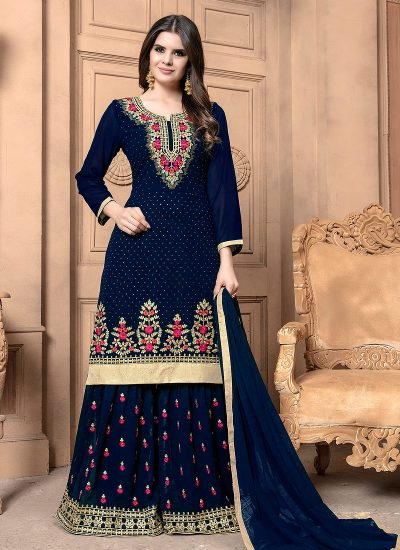 Blue and Gold Embroidered Palazzo Suit