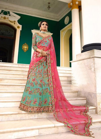 Sea Green and Pink Heavy Embroidered Lehenga