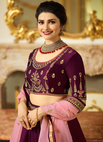 Purple and Gold Embroidered Lehenga