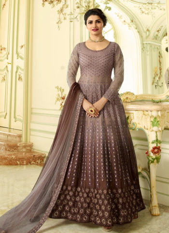 Grey and Brown Shaded Embroidered Anarkali