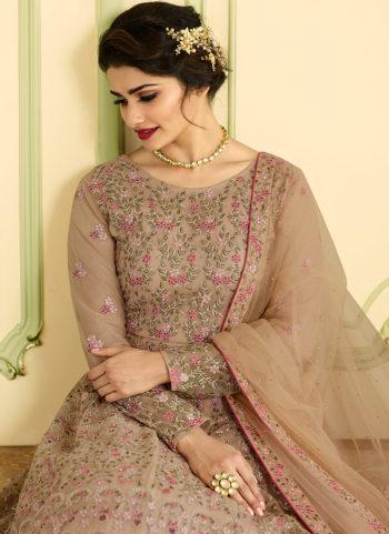 Light Beige Floral Embroidered Anarkali