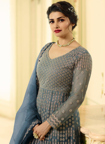 Blue Shaded Embroidered Anarkali