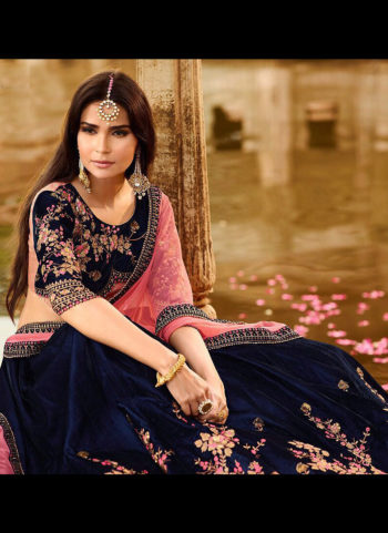 Navy Blue and Pink Embroidered Lehenga