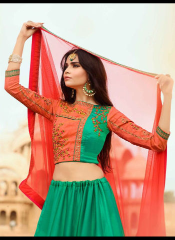 Green and Pink Embroidered Lehenga