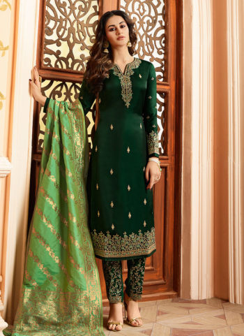 Green and Gold Embroidered Straight Pant Suit