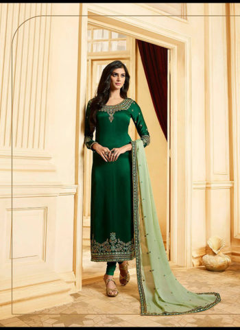 Green and Gold Embroidered Straight Suit