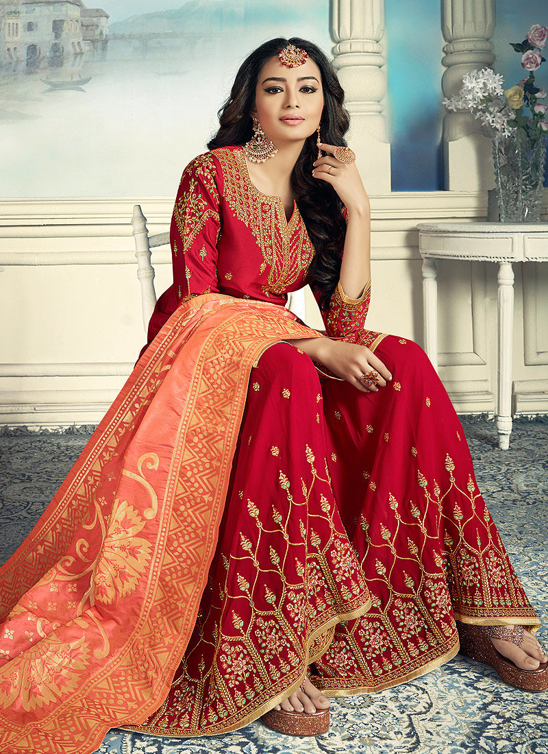 Red and Gold Embroidered Gharara Suit
