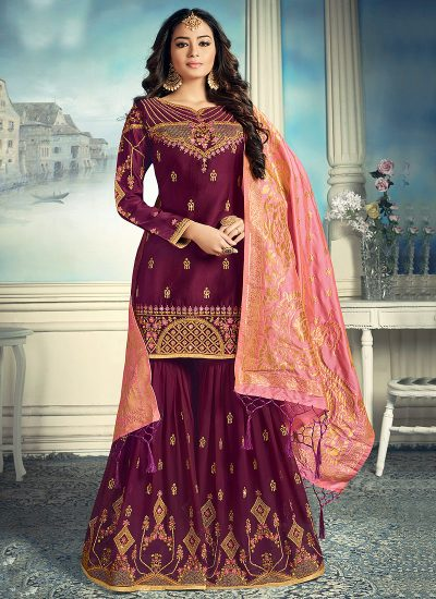 Purple and Gold Embroidered Gharara Suit