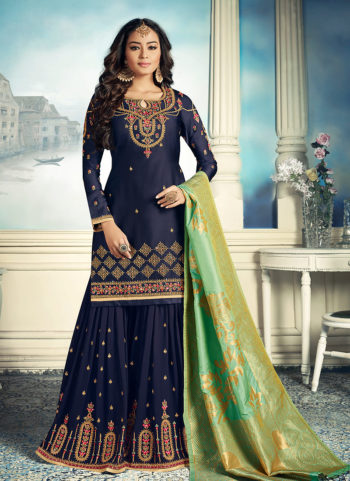 Blue and Gold Embroidered Gharara Suit