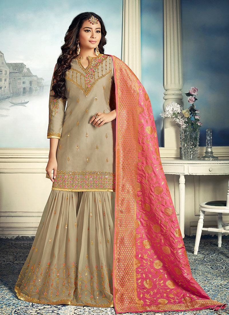 Grey and Gold Embroidered Gharara Suit
