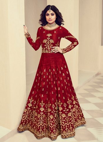 Mroon and Gold Embroidered Anarkali