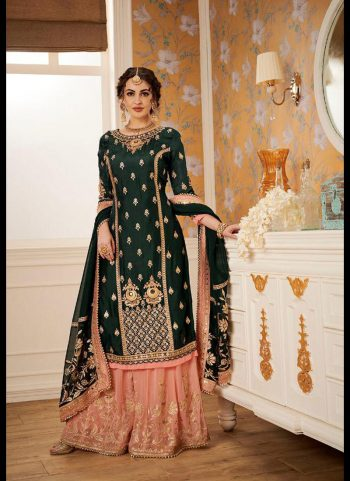 Blue and Peach Embroidered Gharara Suit