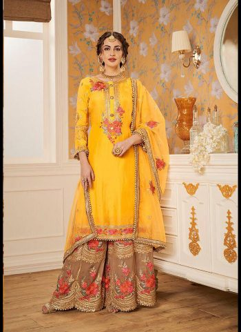 Yellow and Beige Embroidered Gharara Suit