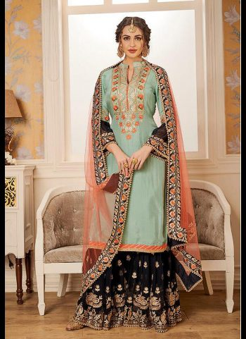 Light Green and Black Embroidered Gharara Suit