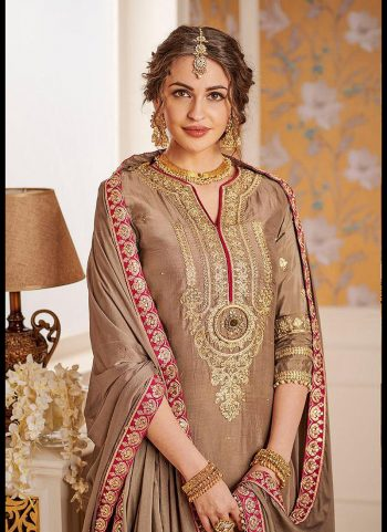 Beige and Pink Embroidered Gharara Suit