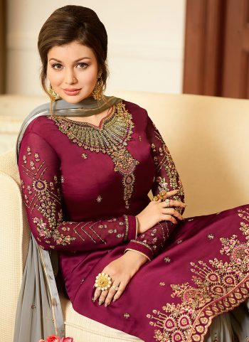 Pink nd Grey Embroidered Gharara Suit