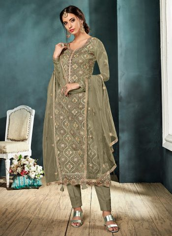 Light Green and Gold Embroidered Straight Pant Suit