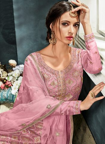 Light Pink and Gold Embroidered Straight Pant Suit