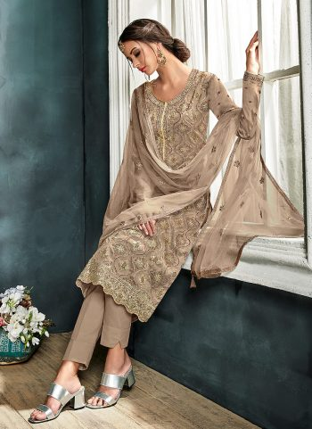 Grey and Gold Embroidered Straight Pant Suit