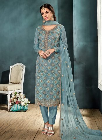Light Blue and Gold Embroidered Straight Pant Suit