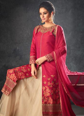Pink and Cream Embroidered Lehenga