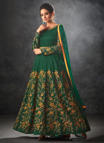 Green Floral Embroidered Anarkali