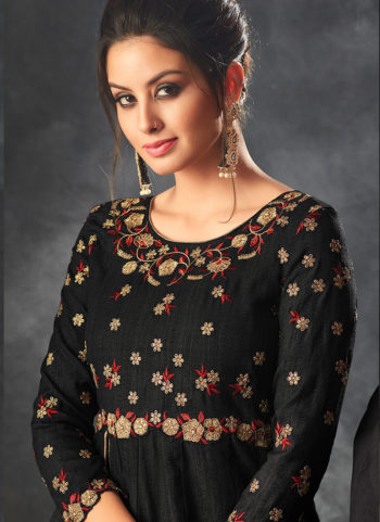 Black Embroidered Pant Style Anarkali