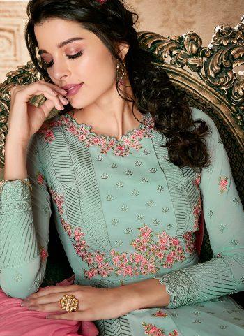 Light Blue Floral Embroidered Anarkali
