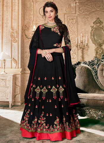 Black and Pink Embroidered Anarkali